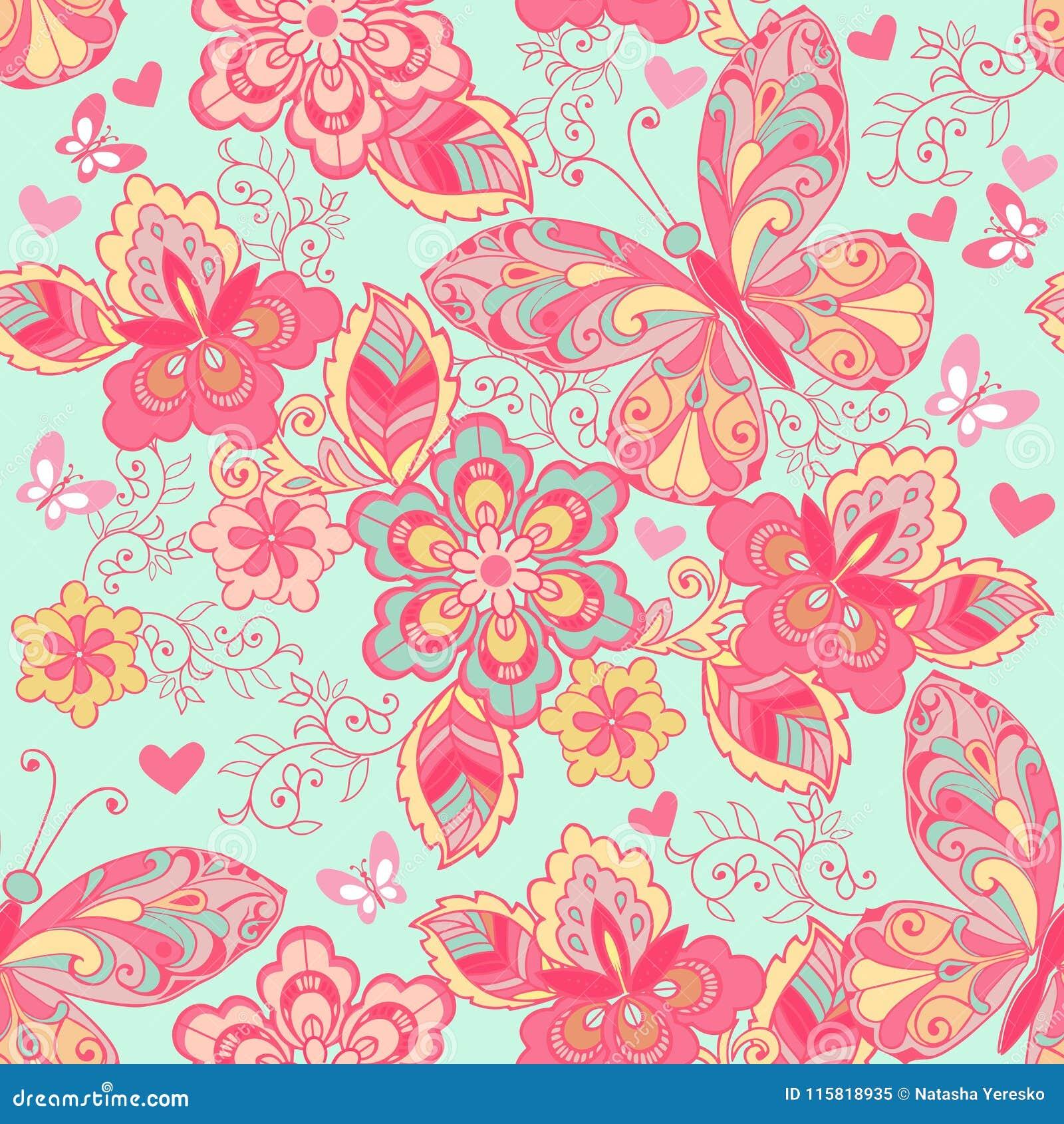 Ornamento sem emenda com borboletas, corações e as flores cor-de-rosa em um fundo azul Contexto decorativo do ornamento para a te