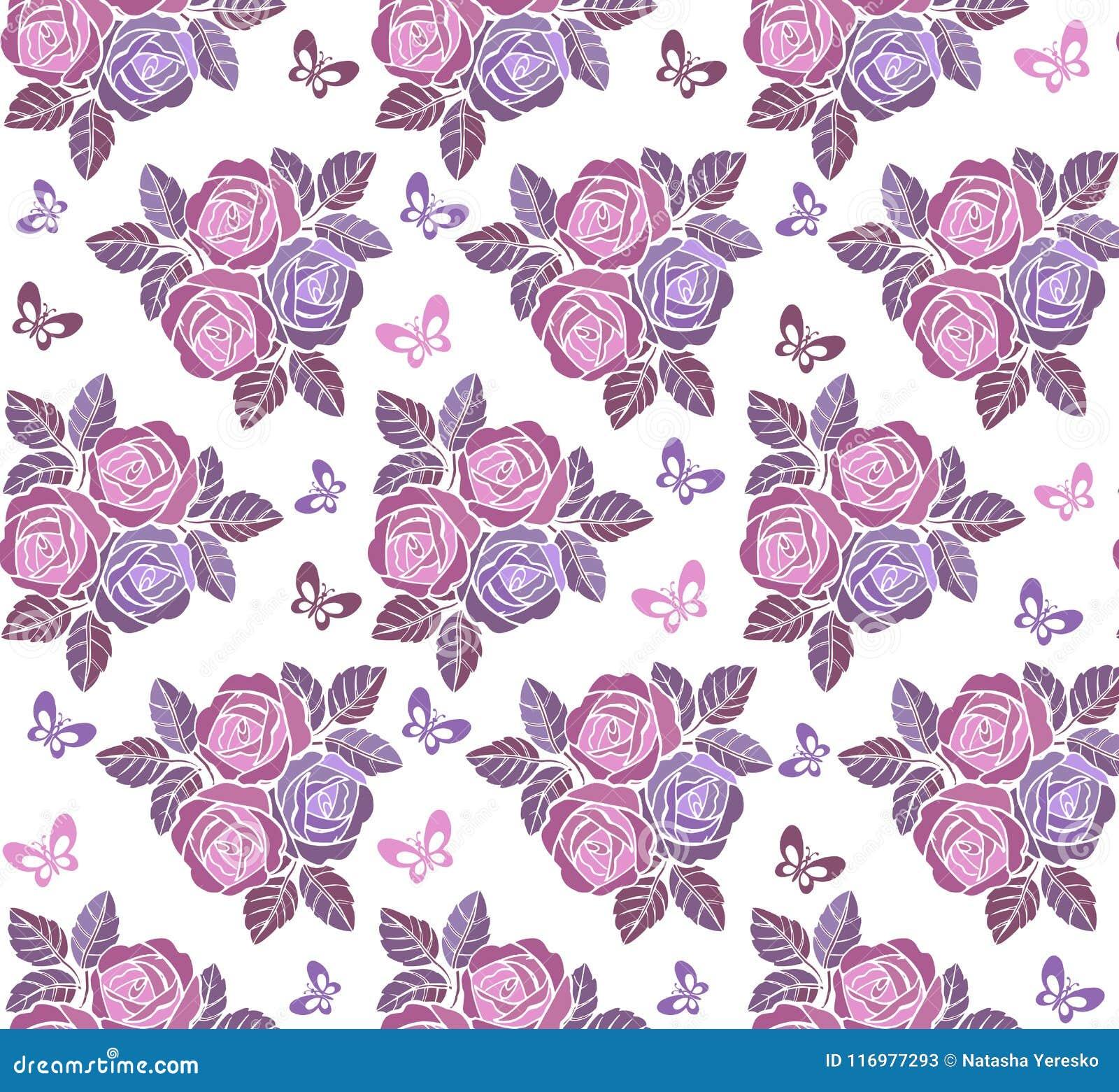 Ornamento sem emenda floral do vintage com as borboletas nas cores pastel Contexto decorativo do ornamento para a tela, matéria t
