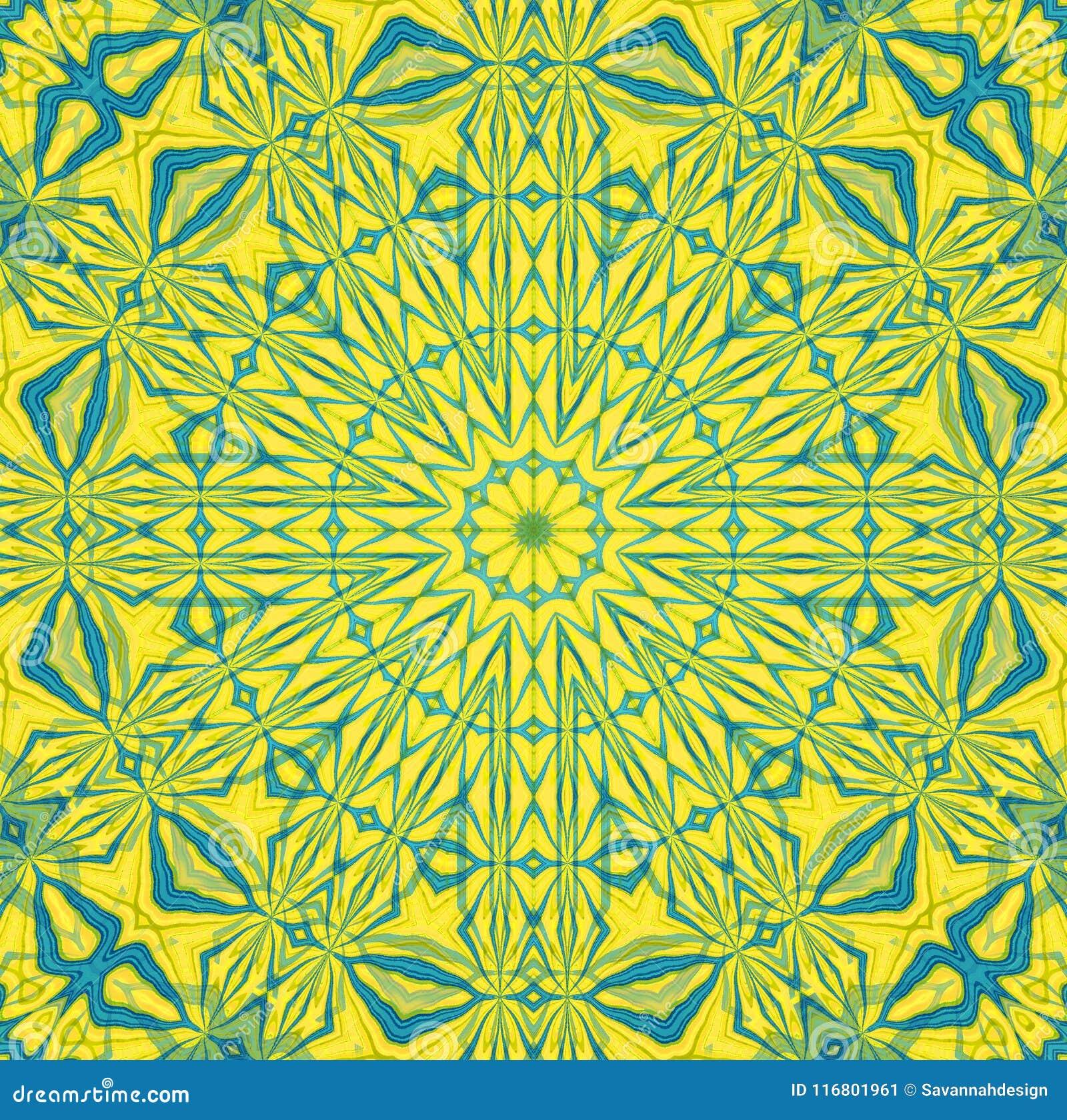 Ornamento simmetrico rotondo regolare nel giallo verde pallido blu-chiaro di forma della stella concentrato