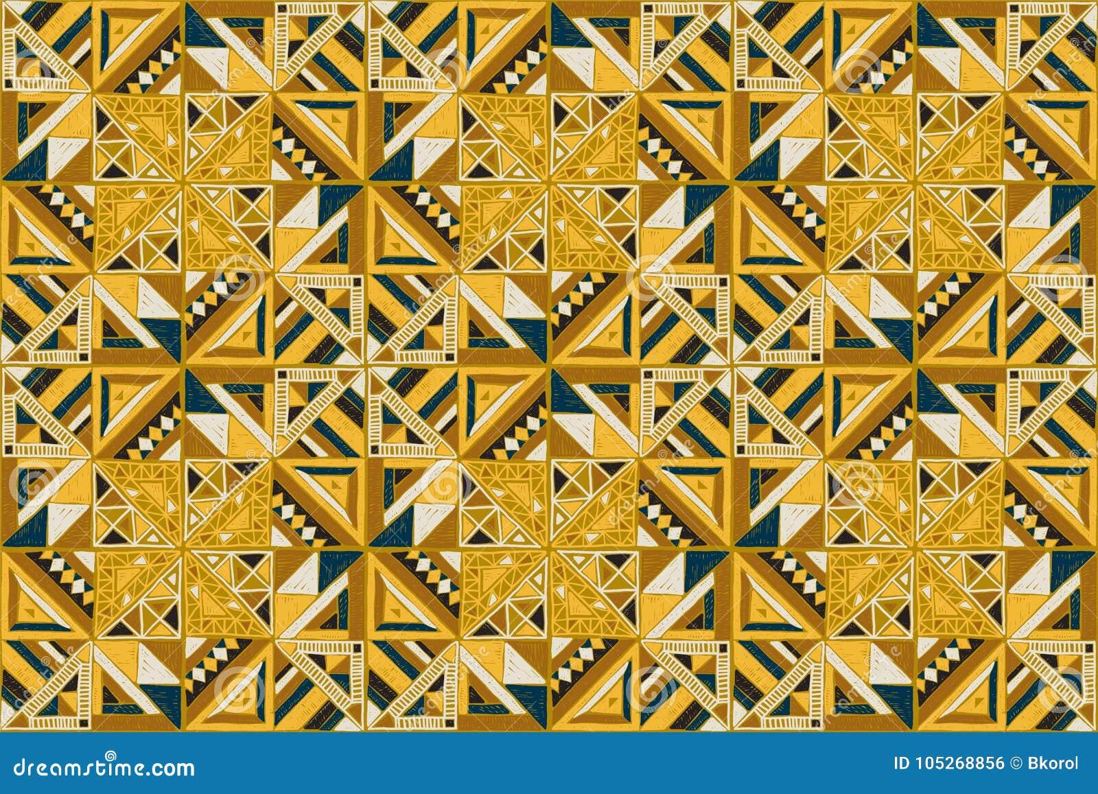 Ornamento tribale di vettore Reticolo africano senza giunte Progettazione etnica sul tappeto Stile azteco