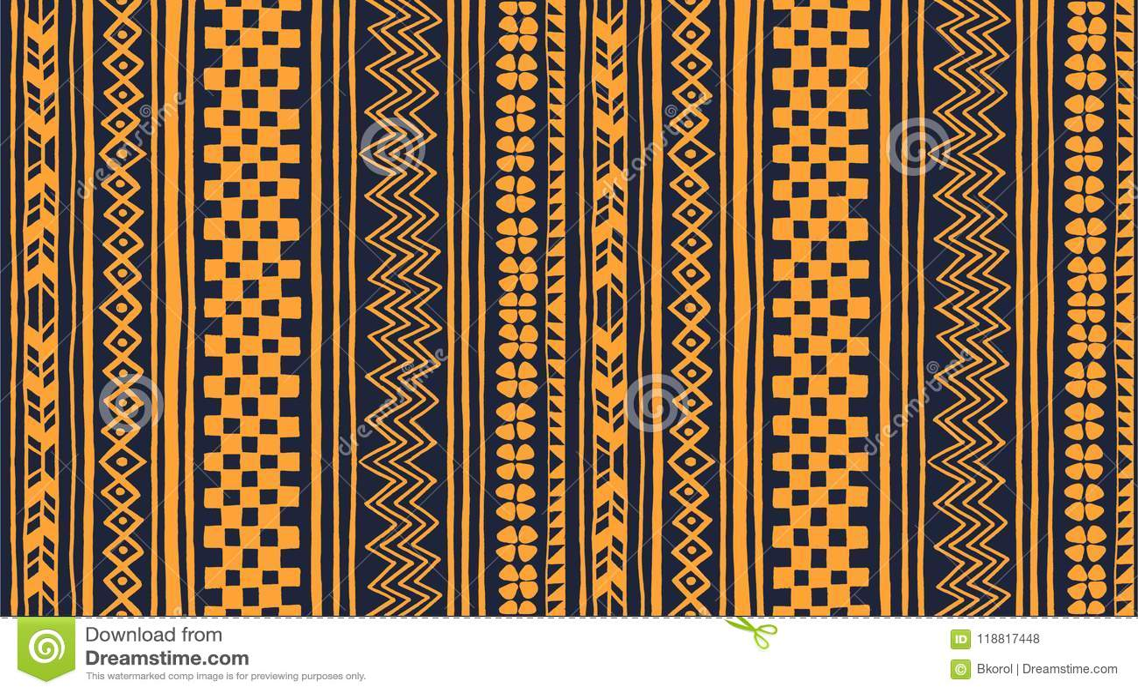 Ornamento tribale di vettore Reticolo africano senza giunte Tappeto etnico con i galloni e le strisce