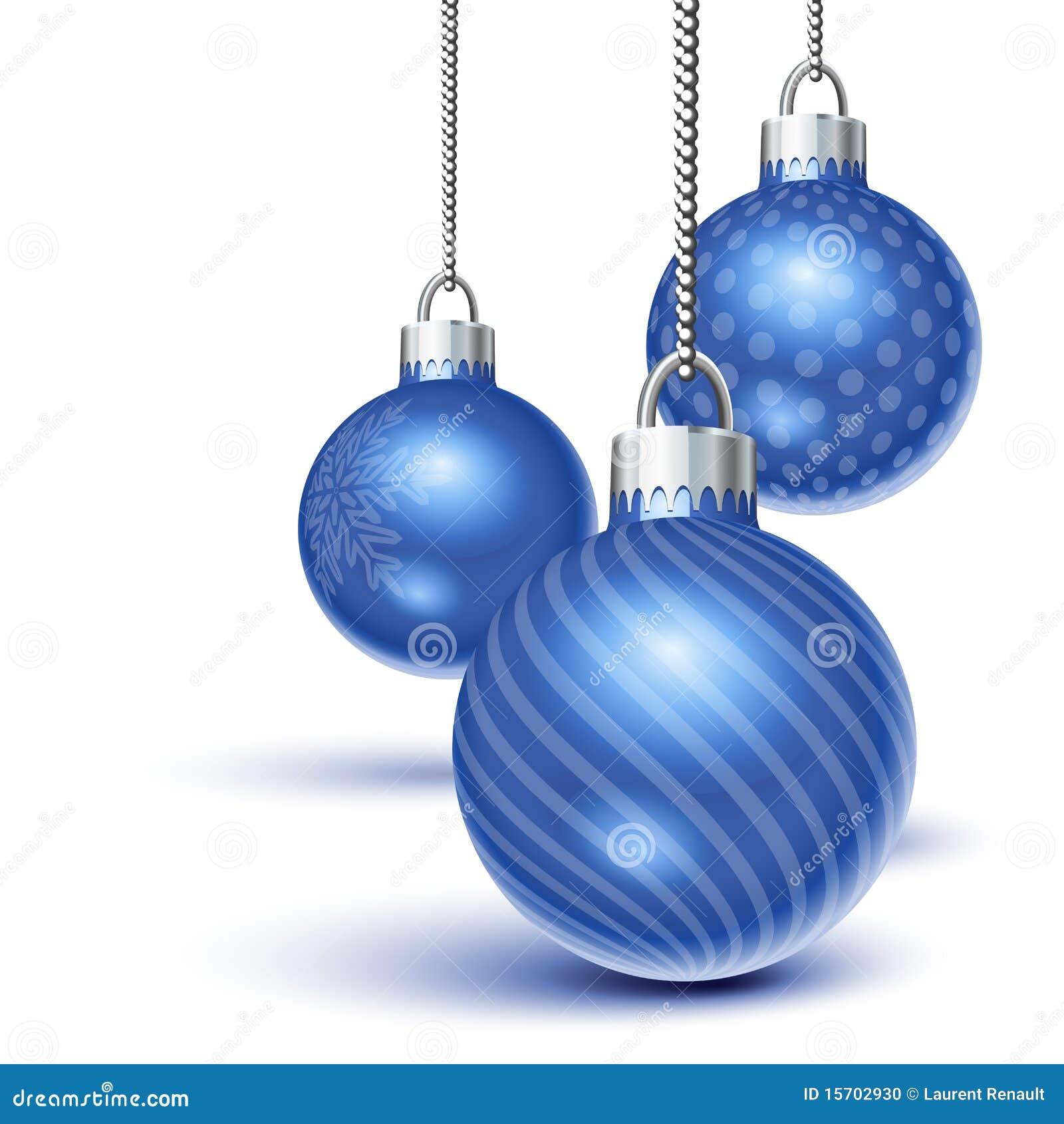 Ornamentos azules de la Navidad