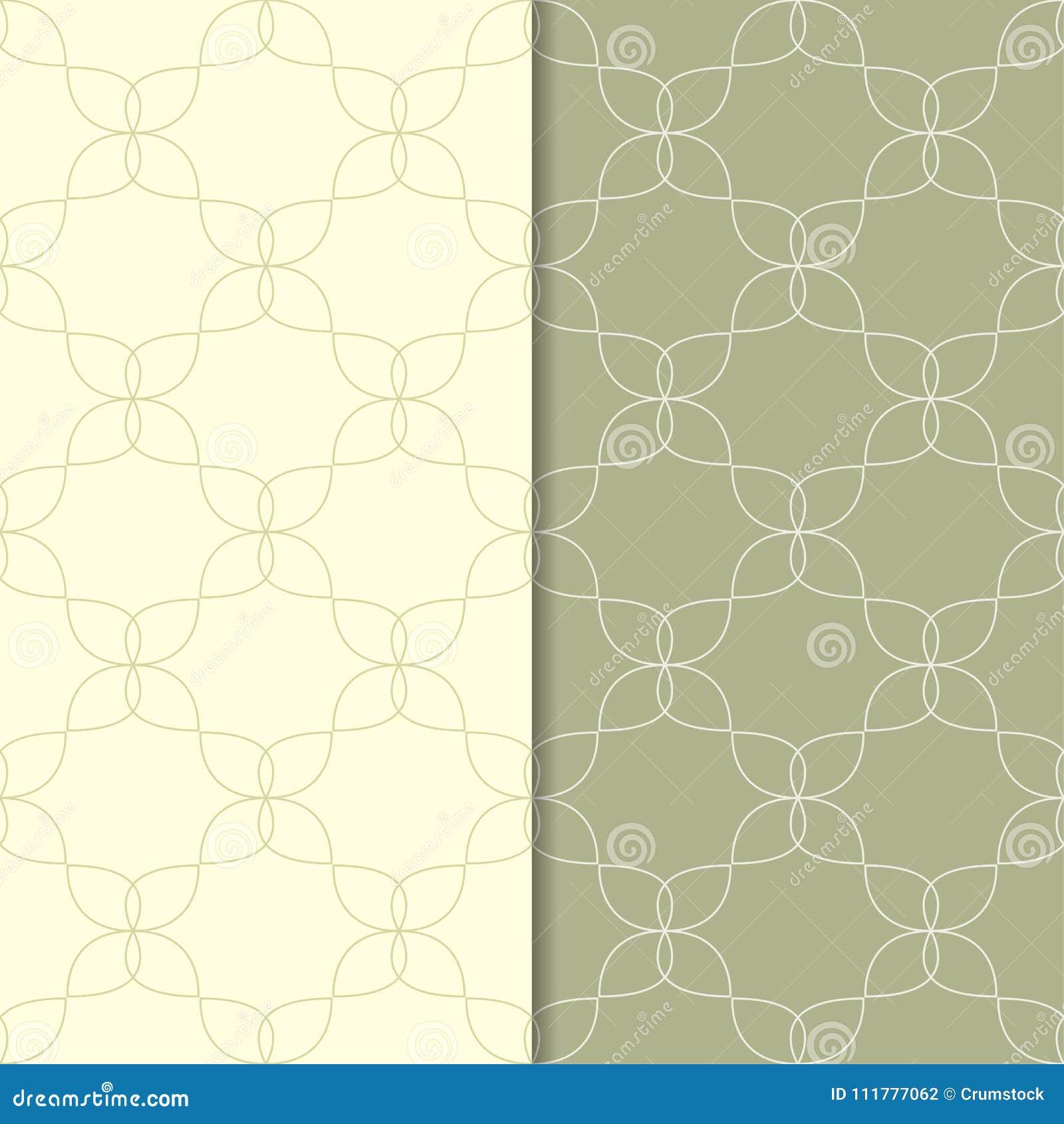 Ornamentos geométricos del verde verde oliva Conjunto de modelos inconsútiles