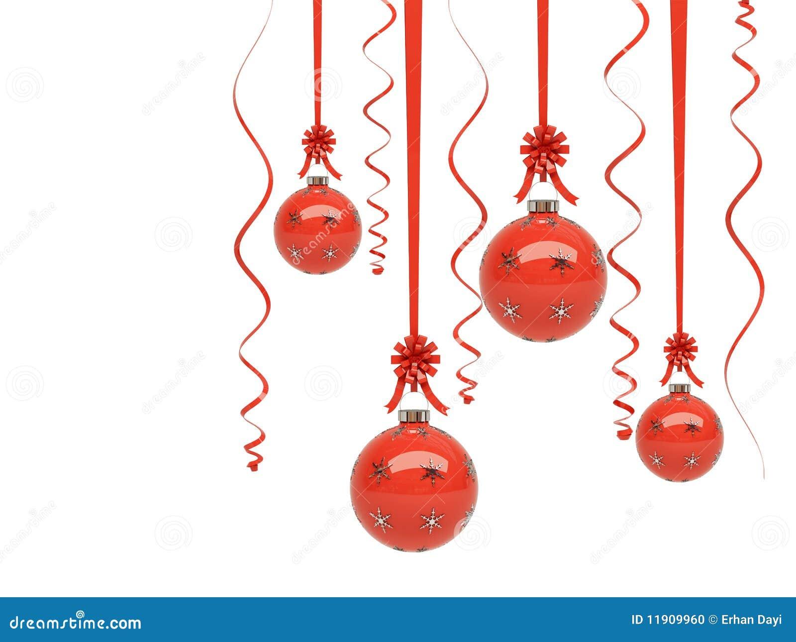 Ornamentos rojos brillantes de la navidad foto de archivo - Ornamentos de navidad ...