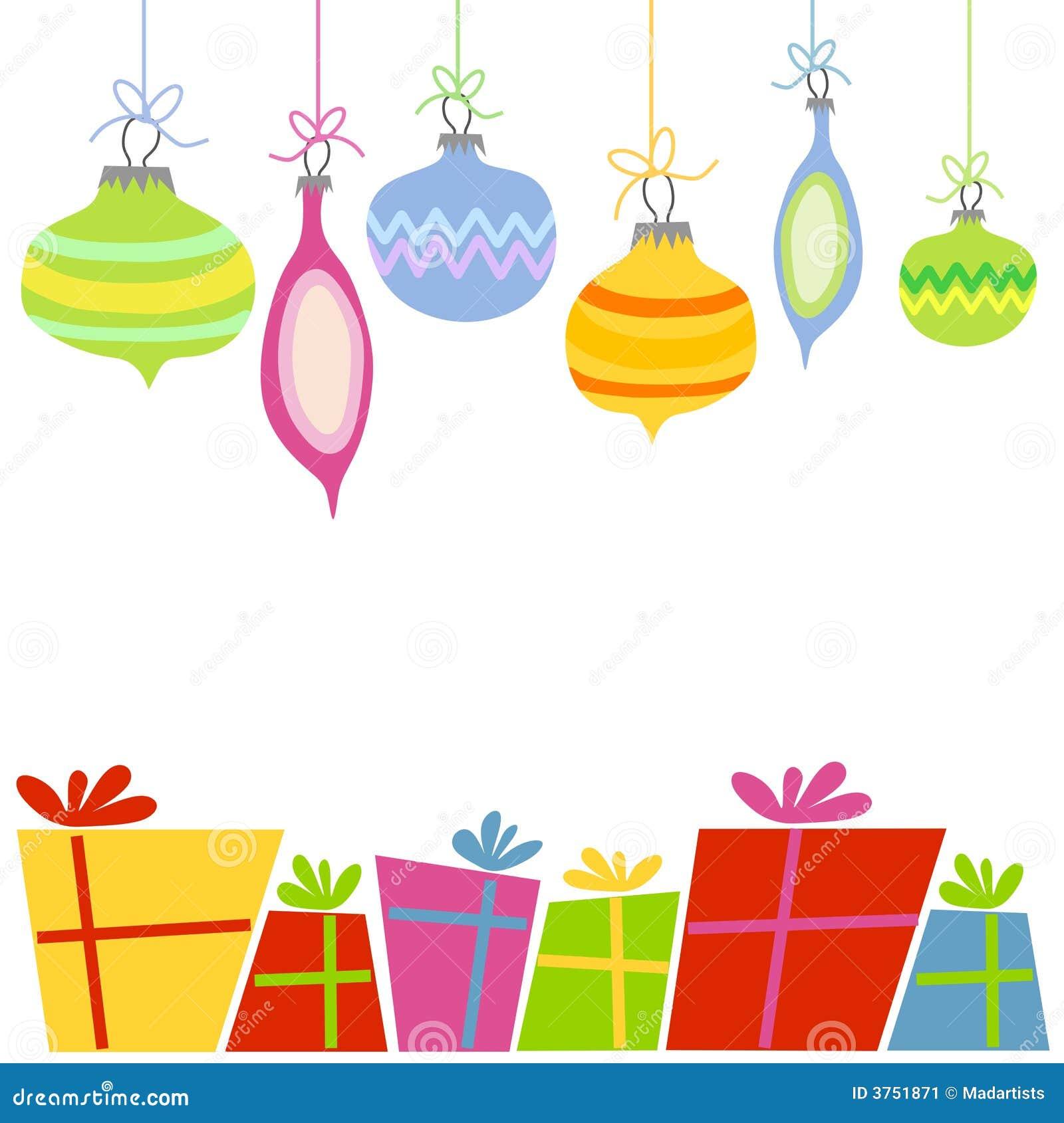 Ornamentos y regalos retros de la Navidad