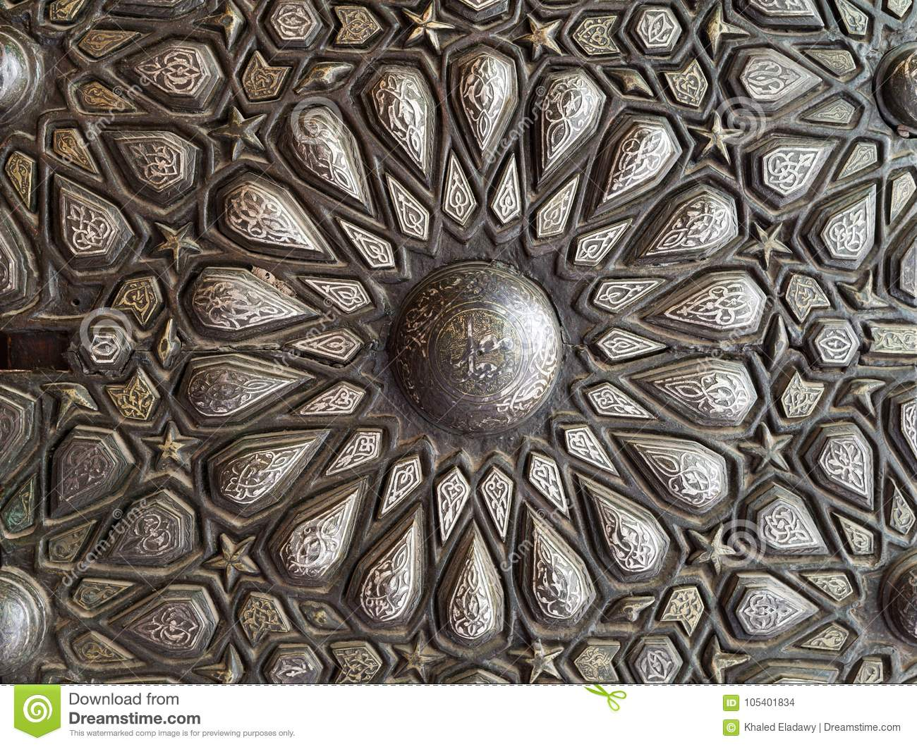 Ornaments of the bronze-plate ornate door, Palace of Prince Mohammed Ali Tewfik, Cairo, Egypt