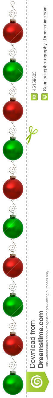 Ornaments Christmas Ornament Red And Green Vertical Border Stock