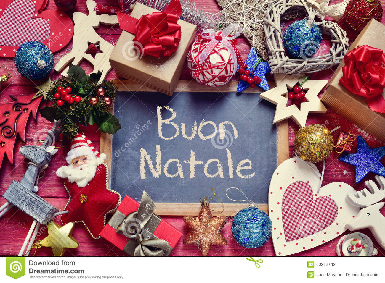 Ornaments and text buon natale merry christmas in italian stock photo image of cozy - Kisseo weihnachtskarten ...
