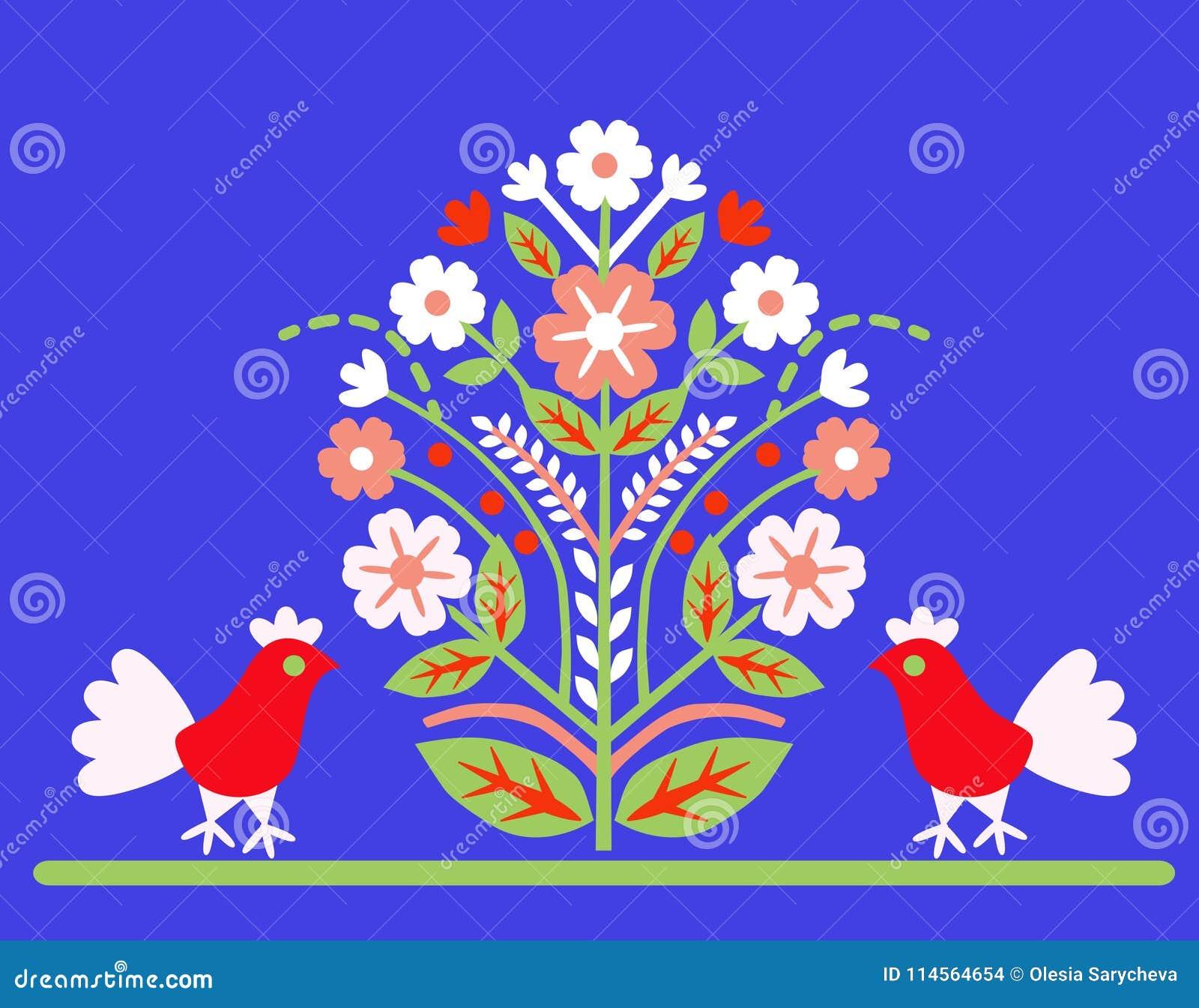 Ornamentuje ` drzewa życia ` z dwa ptakami na błękitnym tle