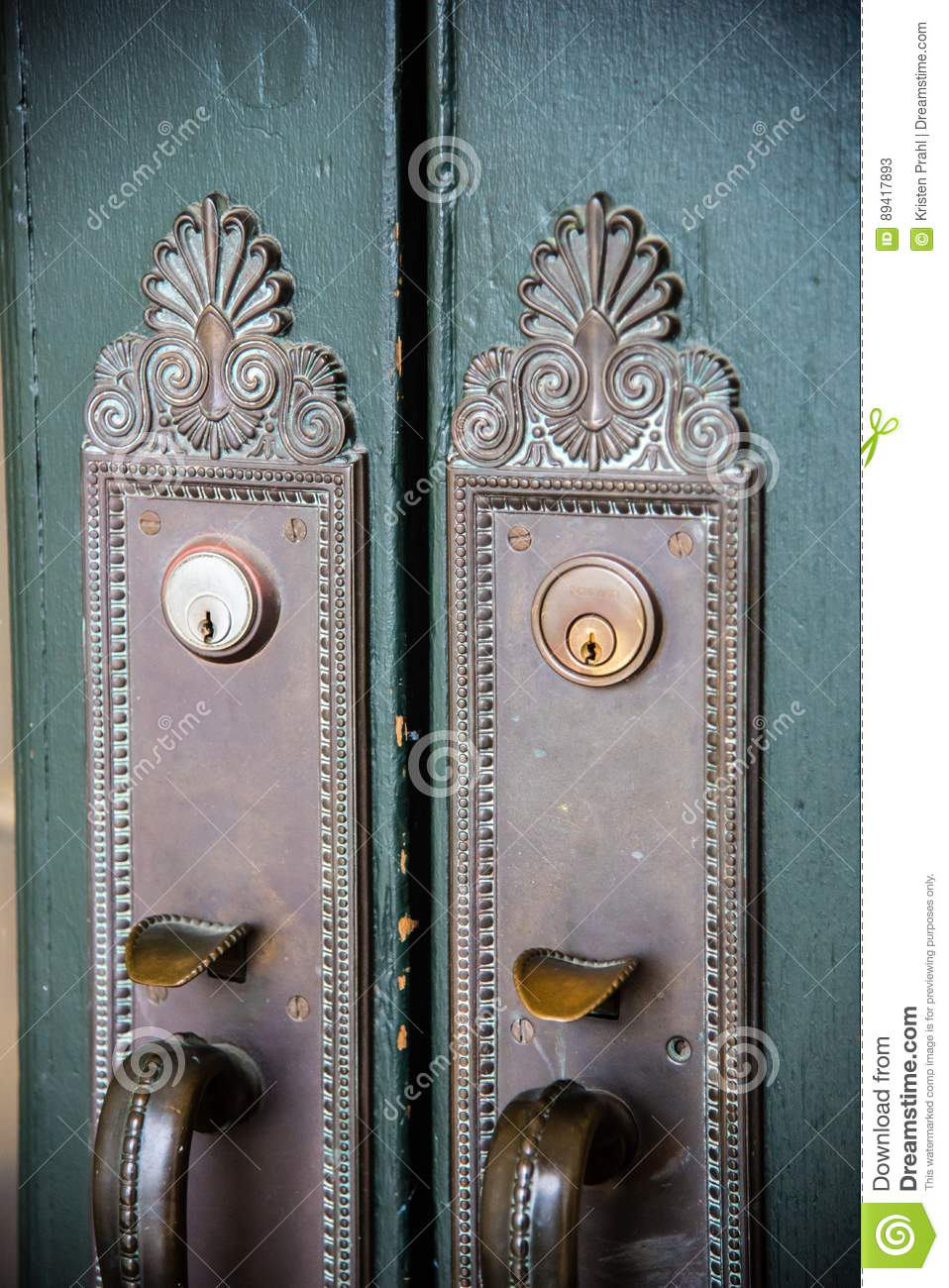 Ornate antique brass door handles
