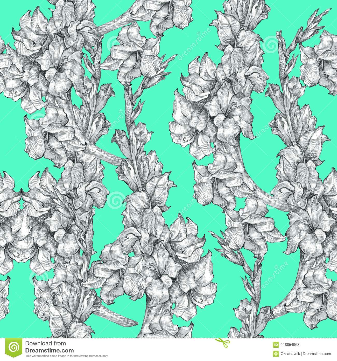 Botanical floral flower pencil drawing sketch seamless ornate pattern texture on bright blue background for invitations