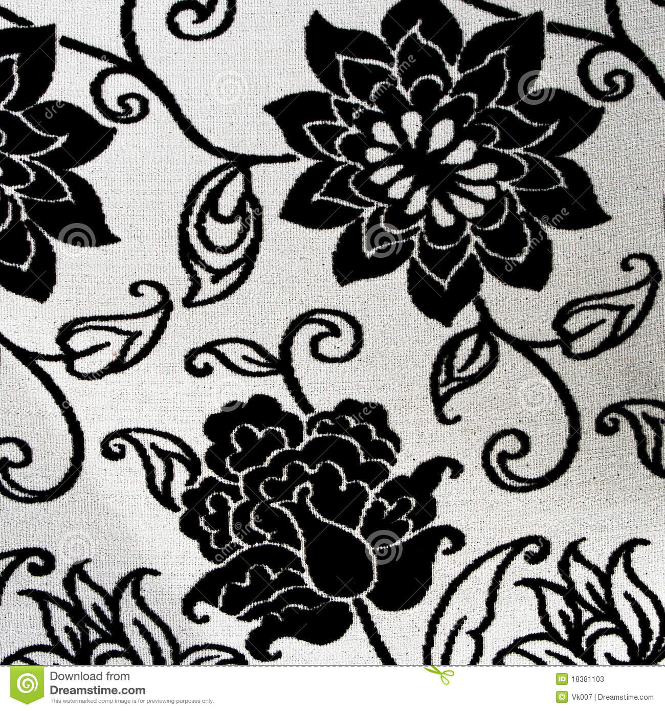 Ornate Black And White Floral Tapestry Stock Image Image