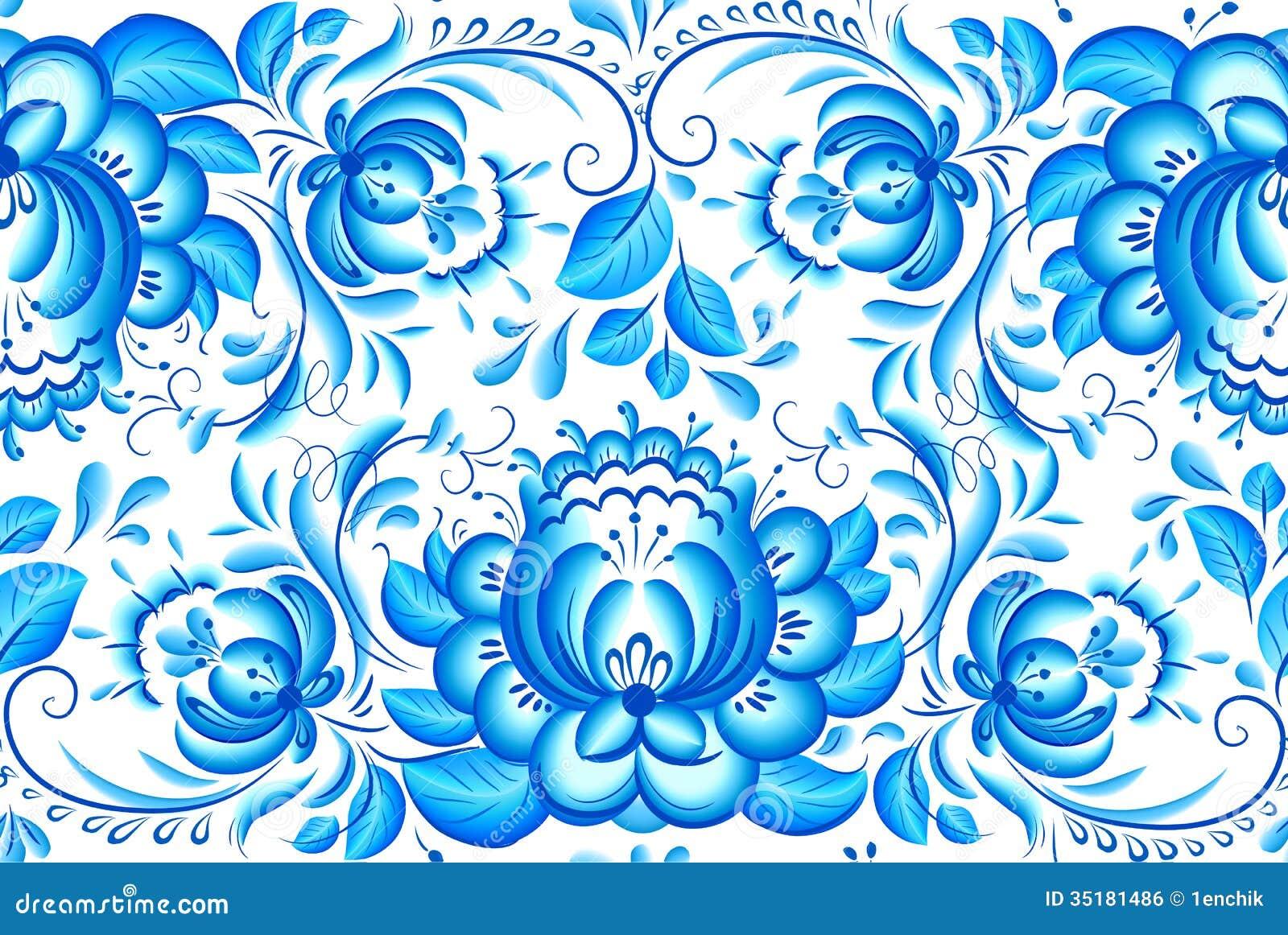 С синими росписями