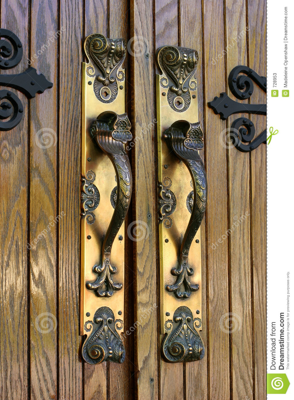 Ornate Brass Door Handles Stock Photos Image 728953