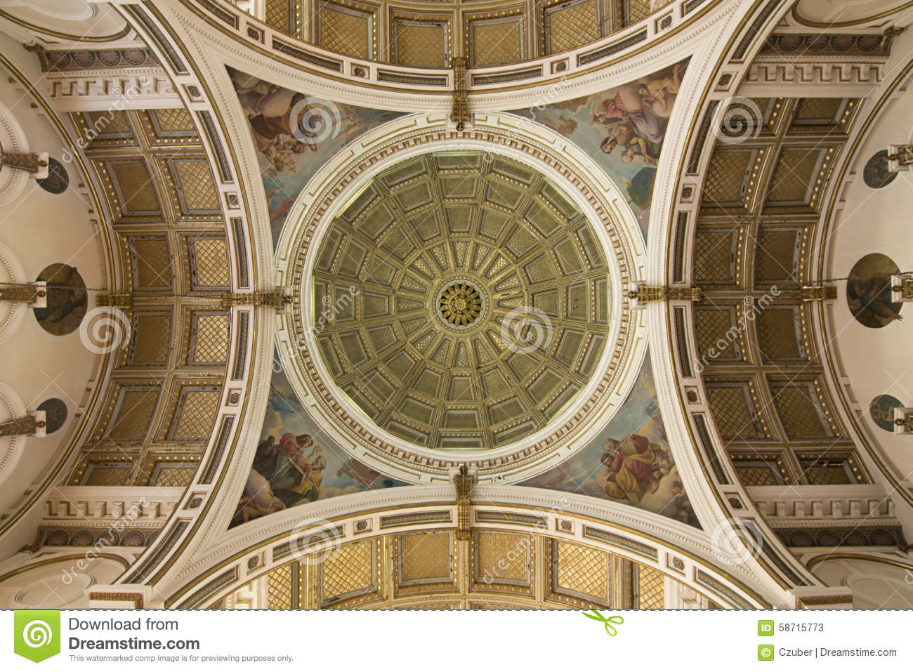 Ornate Celing And Dome Of Catholic Church Stock Photo