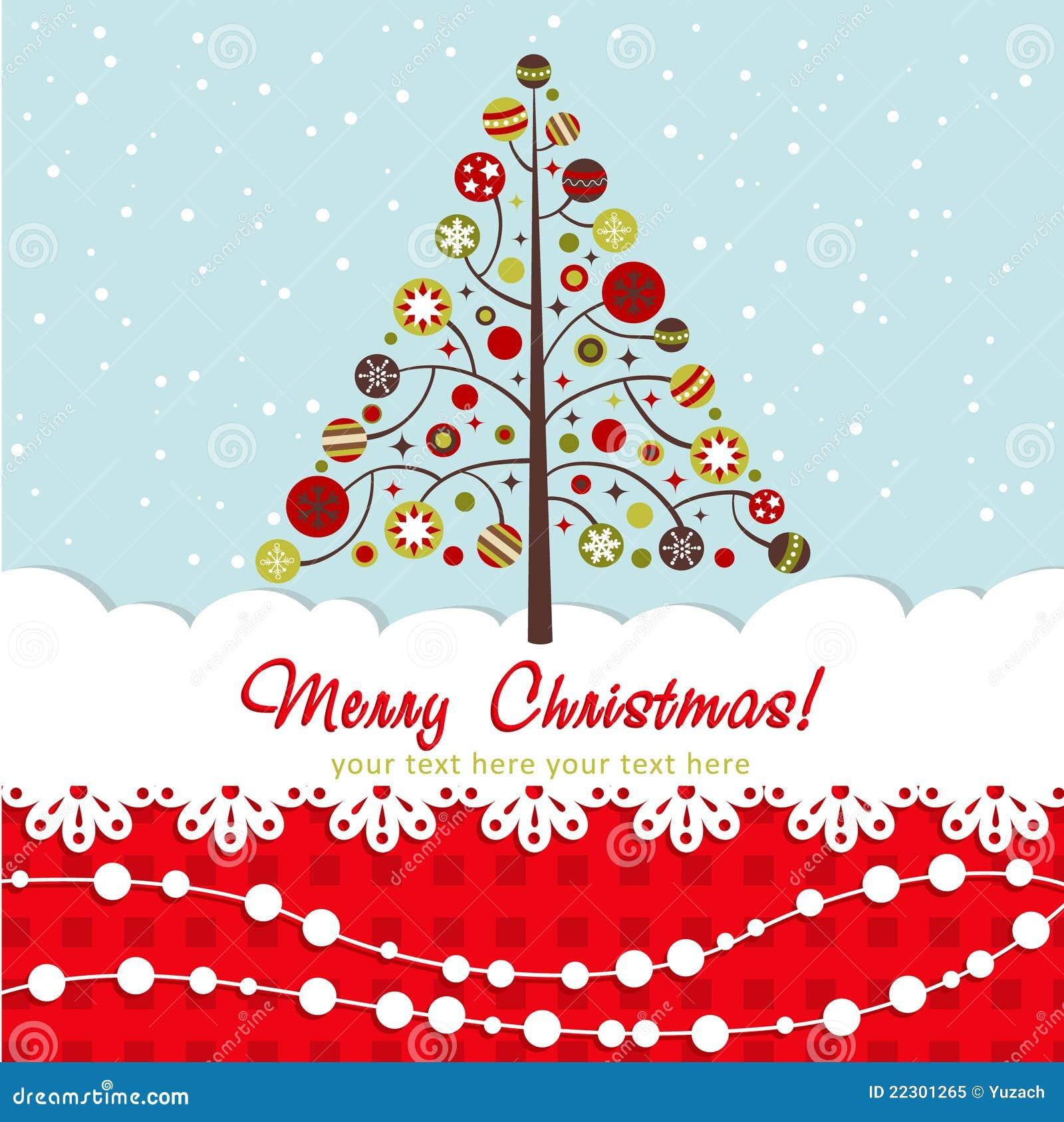Ornate Christmas Card With Xmas Tree Royalty Free Stock Photo ...