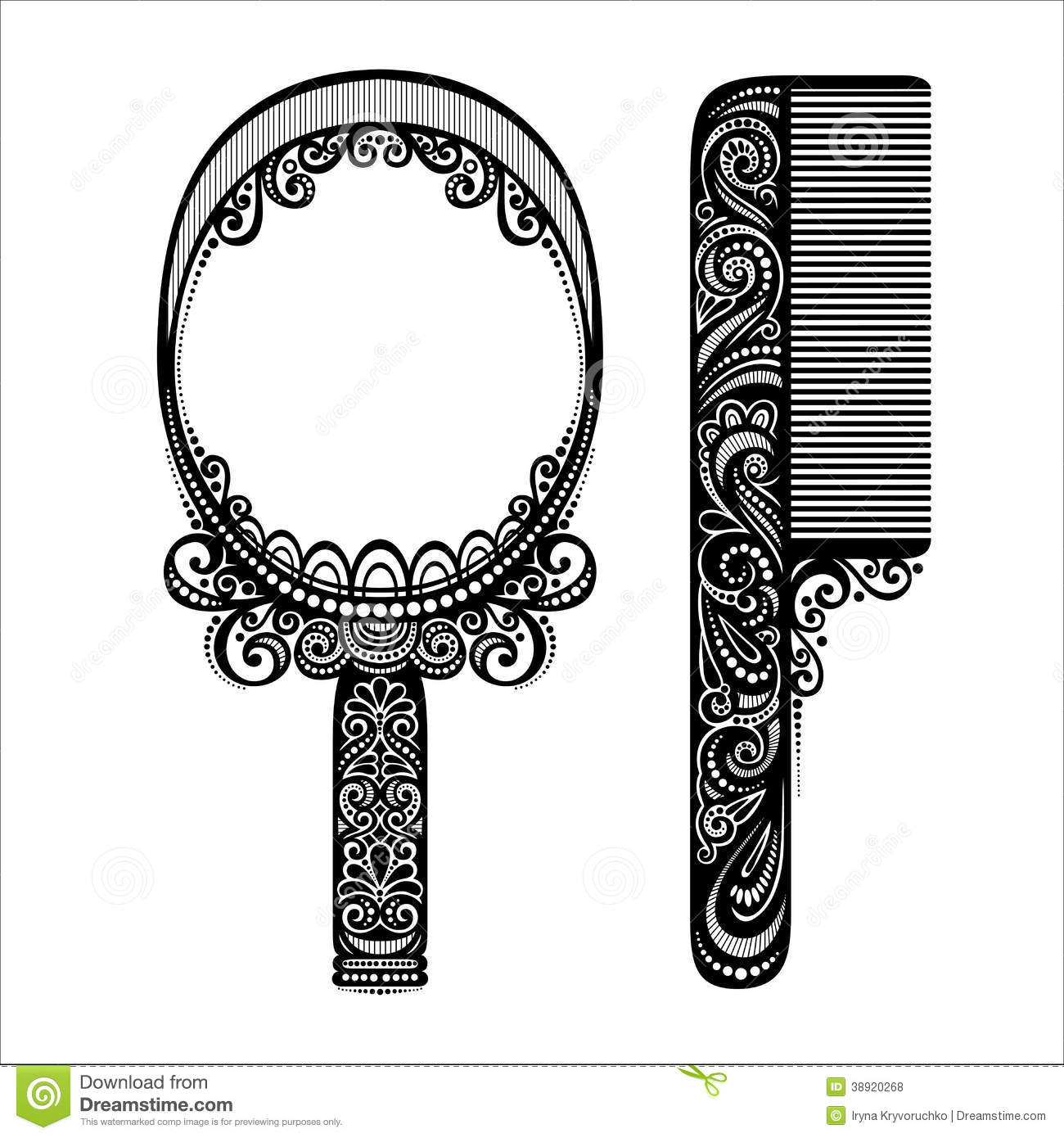 ornate comb with mirror stock vector image of element