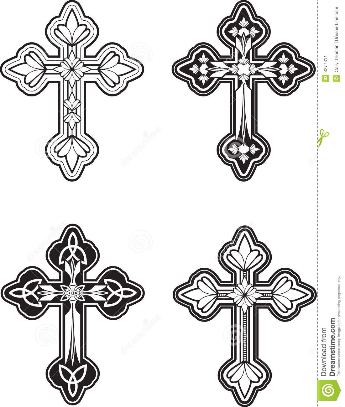 variety of black and white ornately engraved crosses.