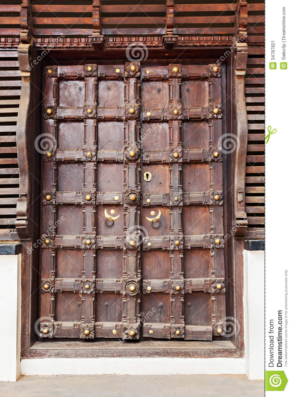 Ornate door stock image of indian asia decoration