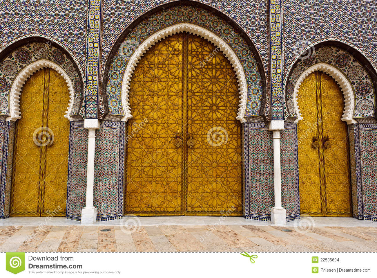 Ornate Doors to Royal Palace in Fez & Ornate Doors To Royal Palace In Fez Stock Photo - Image of royal ...