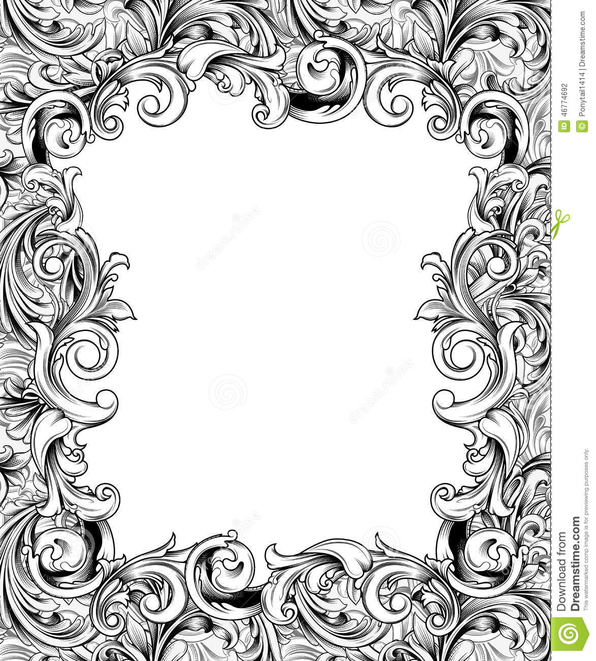ornate engraved baroque frame