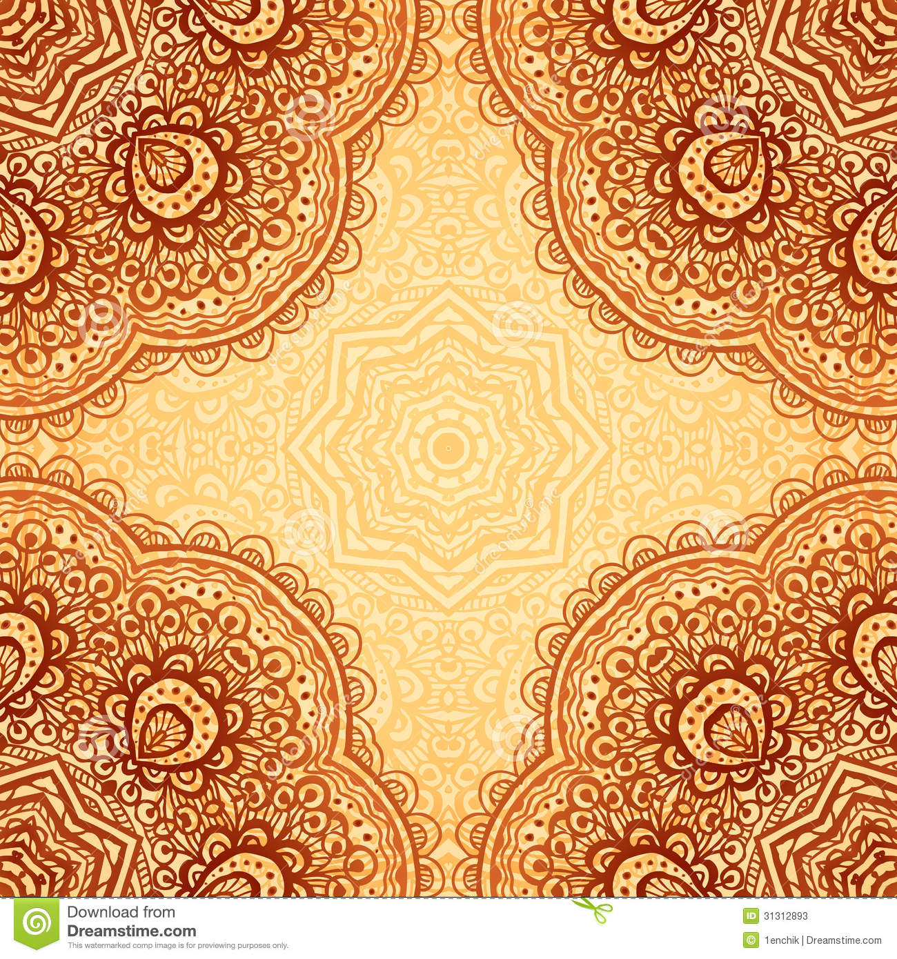 Ornate Ethnic Henna Colors Vector Background Stock Vector