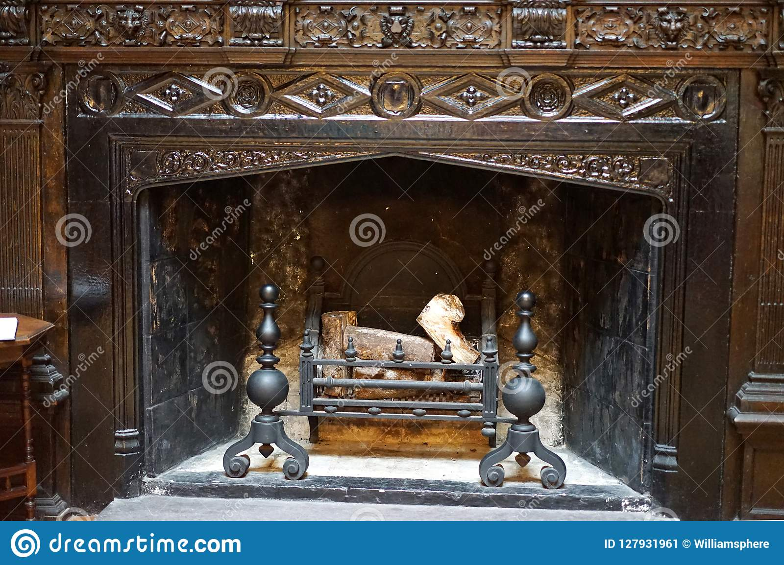 Intricate fireplace carvings in 18th century castle