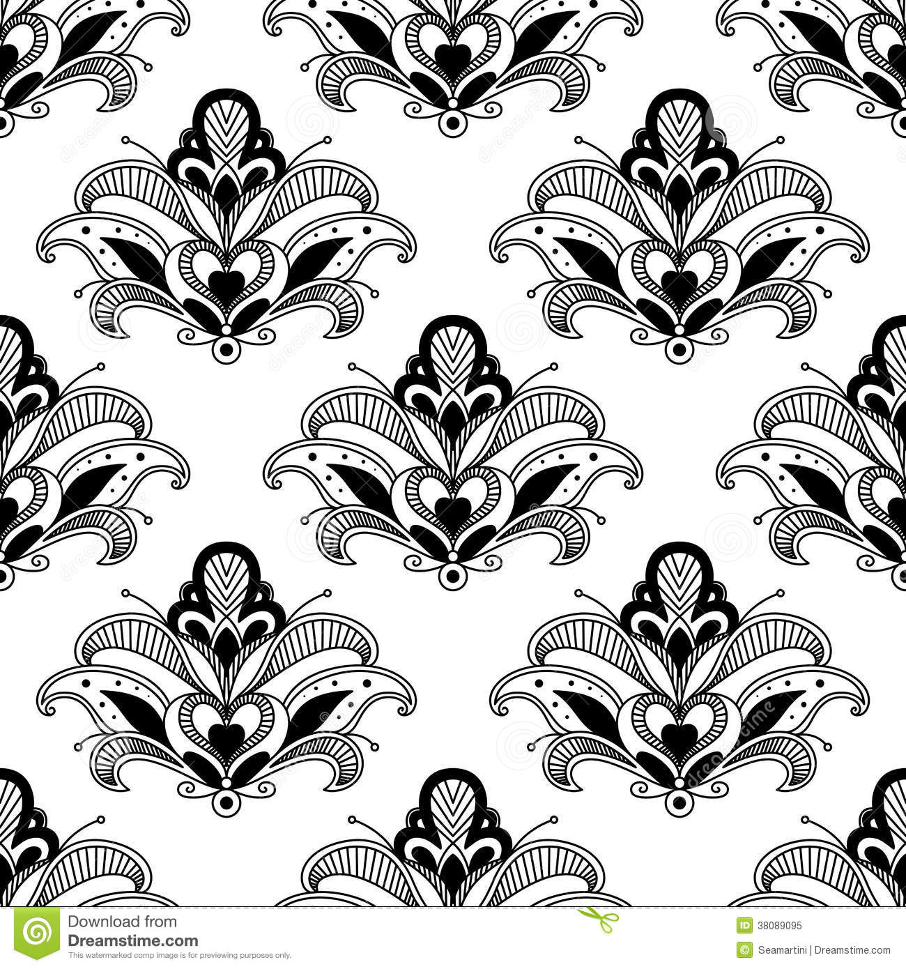 Persian Patterns: Ornate Floral Persian Seamless Pattern Stock Vector
