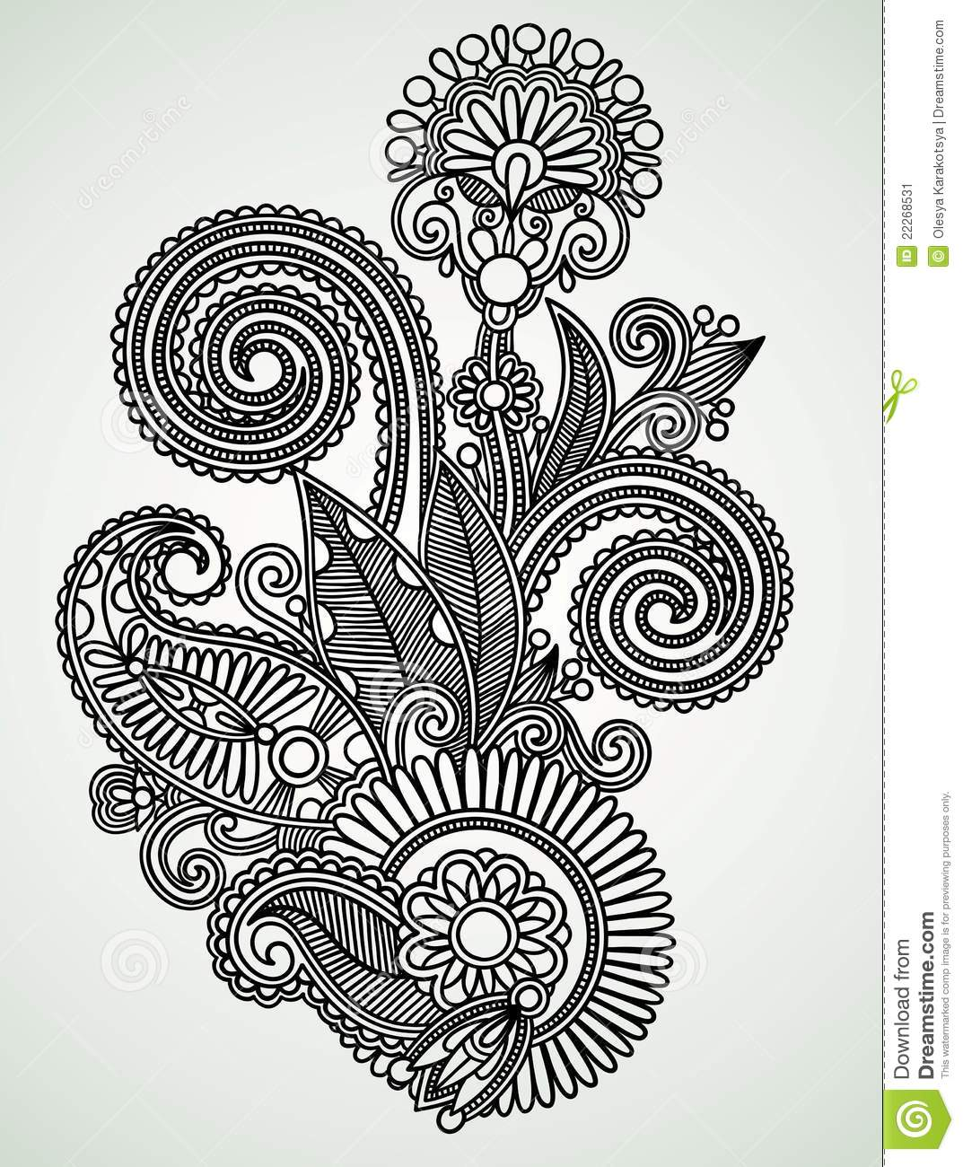 Line Art Design Flower : Ornate flower design stock image