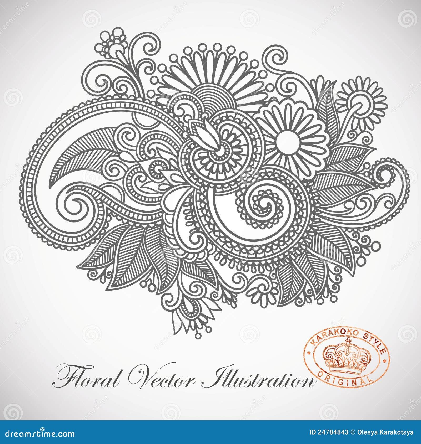 Line Art Ornate Flower Design : Ornate flower design stock vector image of intricate