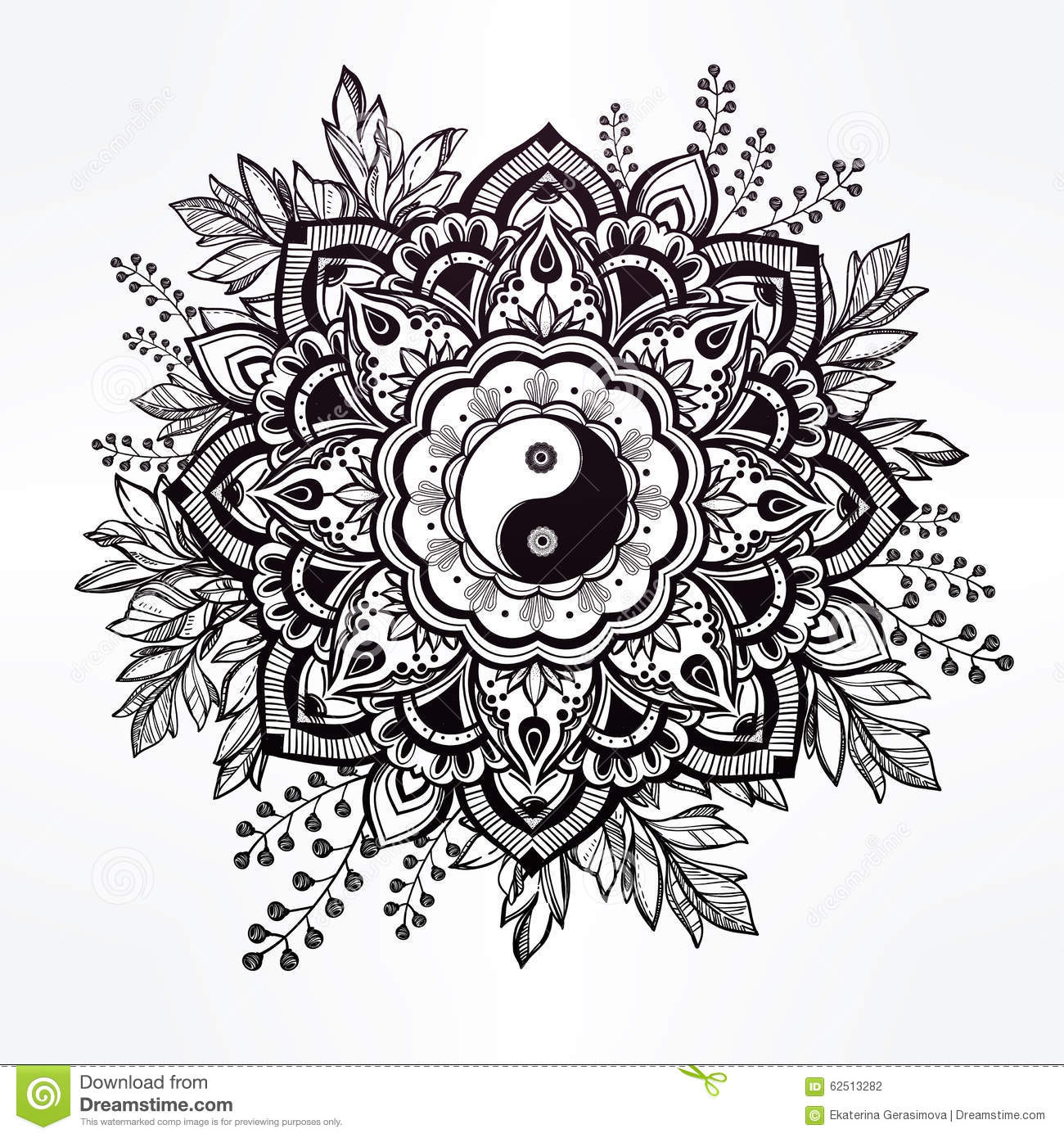 ornate flower with yin and yang symbol stock vector Koi Fish Drawings Yin and Yang Koi Fish
