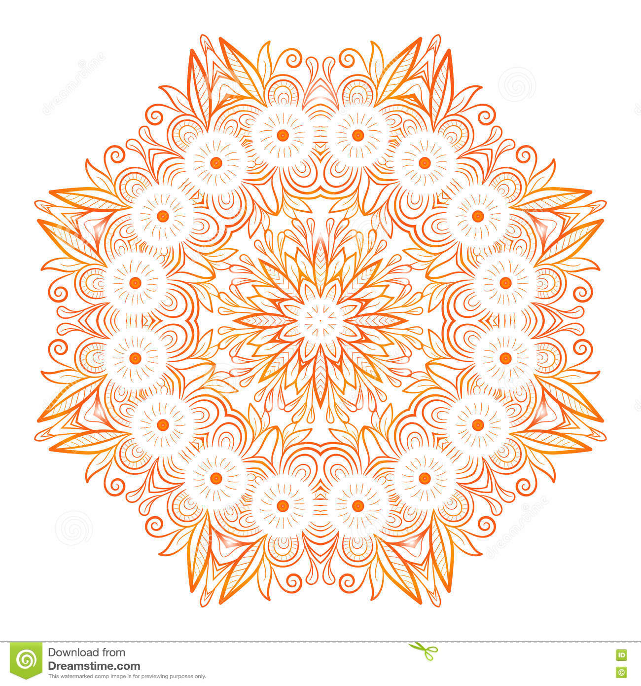 Ornate Flowers Henna Vector Mandala In Indian Style Stock Vector
