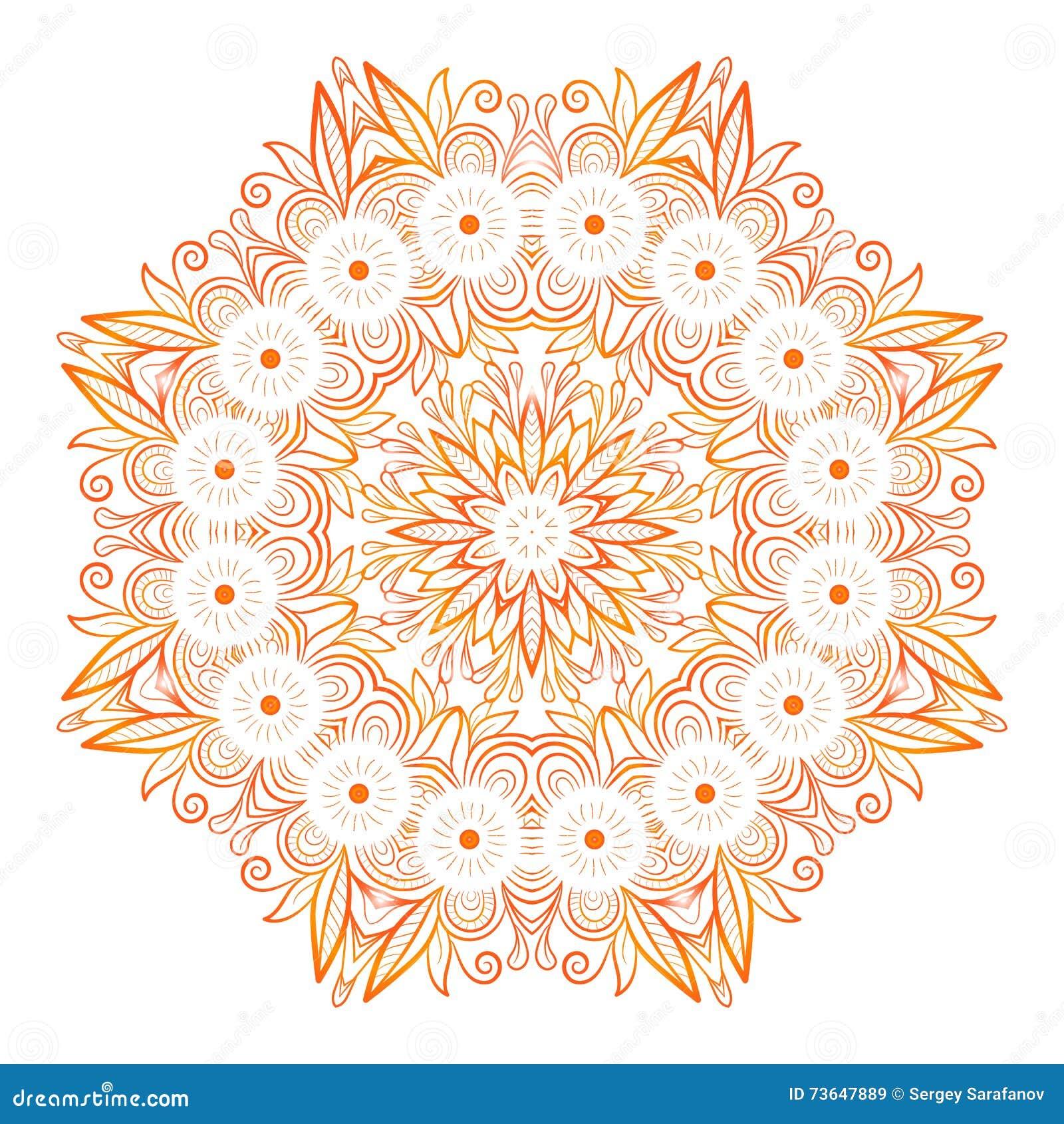 Ornate Flowers Henna Vector Mandala In Indian Style Stock Vector