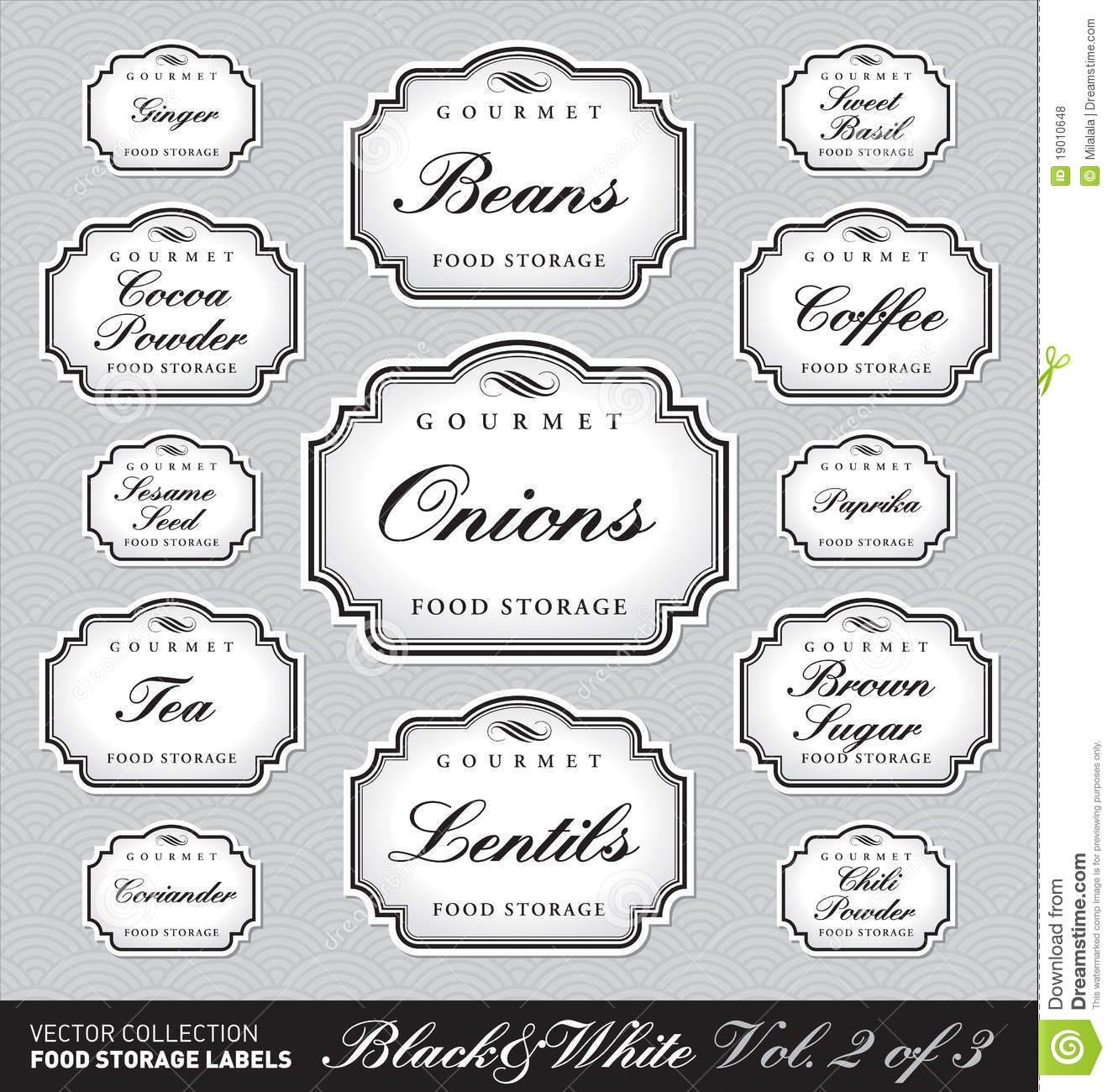 Ornate food storage labels vol2 (vector)