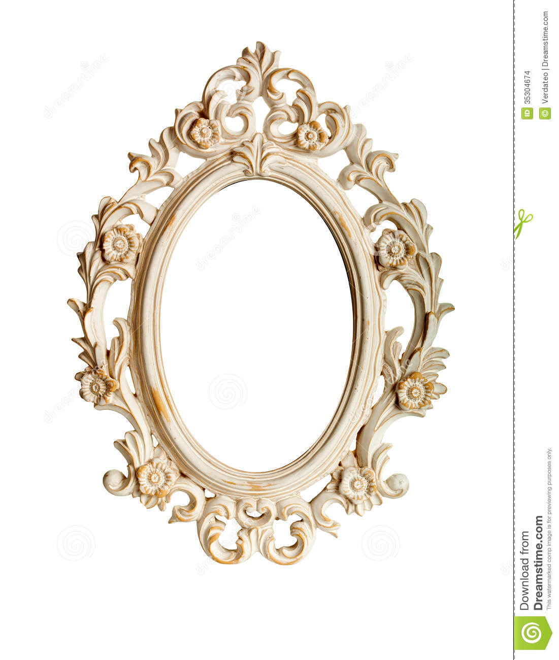 Oval ornate vintage frame isolated over white background.