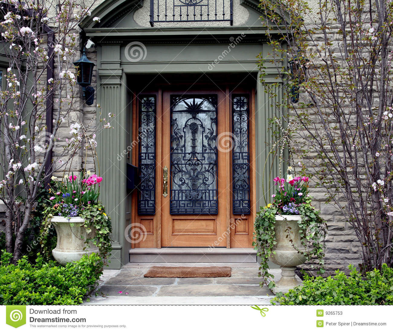 Ornate Front Door With Flowers Stock Image Image Of