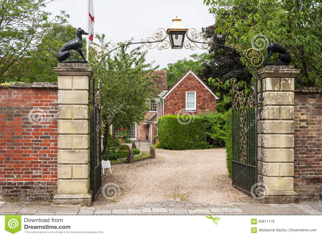 Ornate gates to Malmesbury House. Salisbury, Wilshire, England