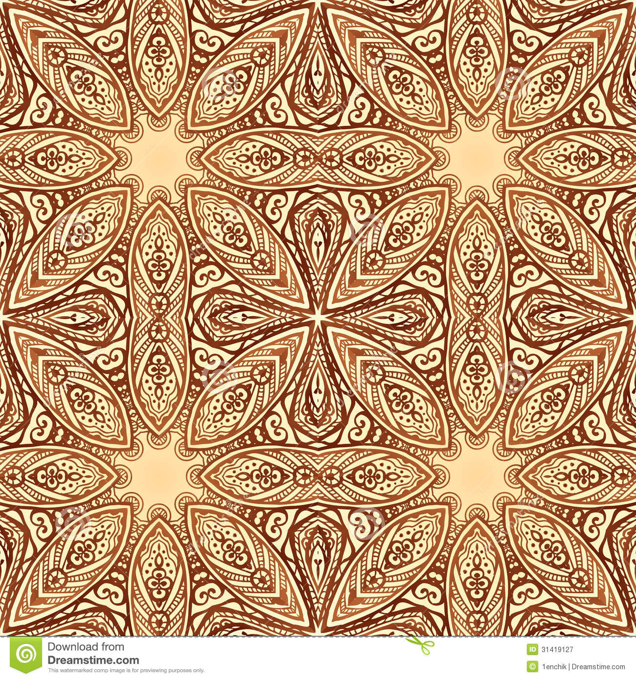 Ornate Geometric Vector Background In Arabic Style Stock