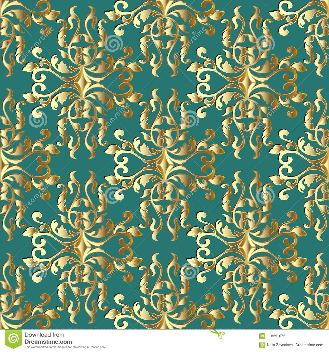 Ornate Gold Baroque Damask Seamless Pattern