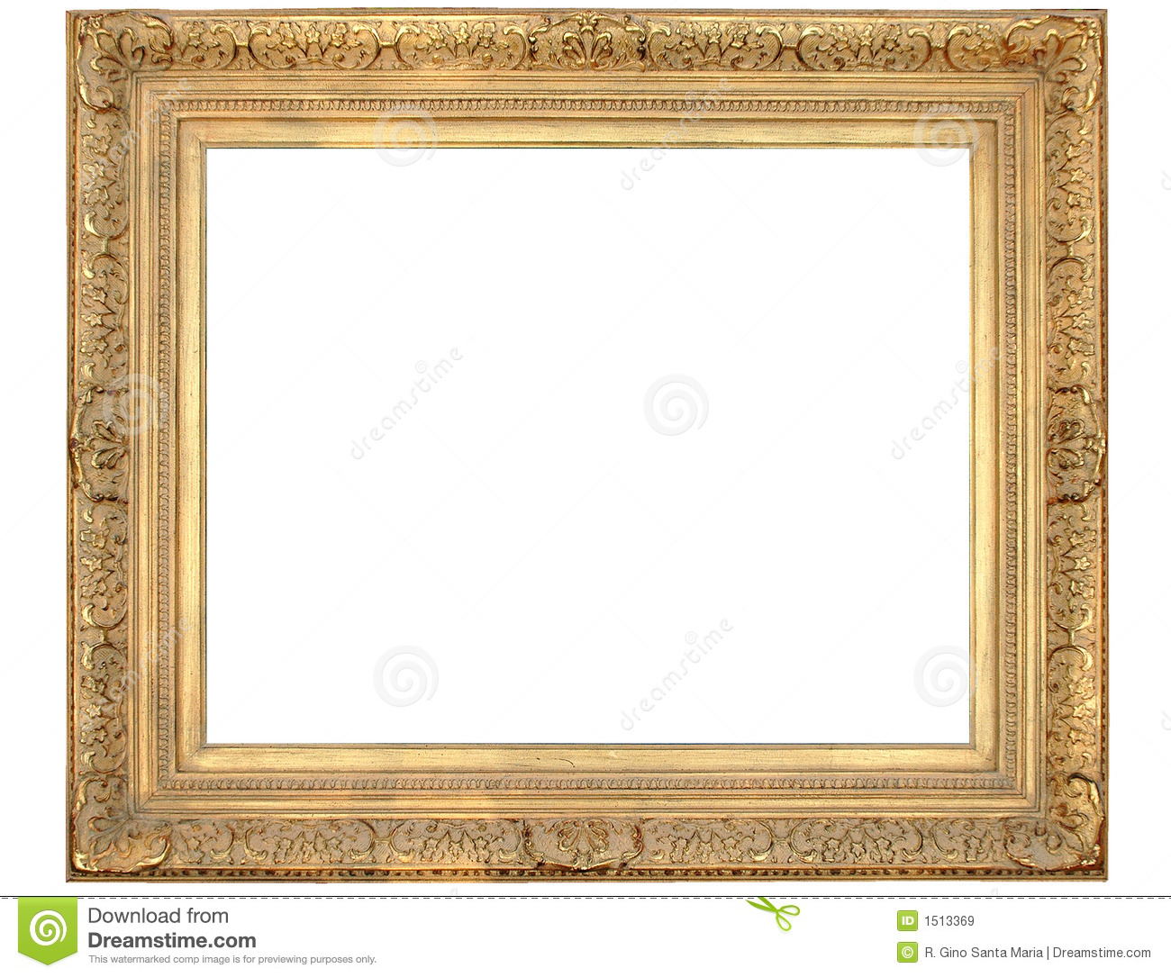 Gold frame with clipping path over white background Ornate Gold Frame Vector
