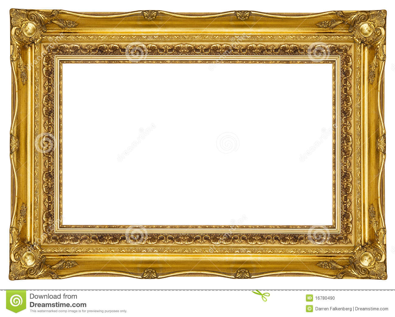 ornate gold picture frame stock photo image 16780490