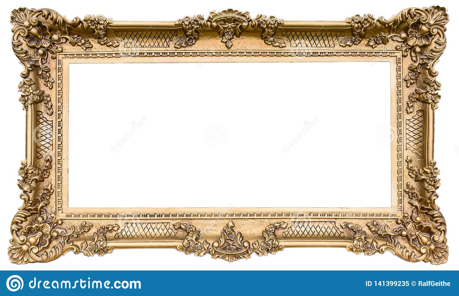 Ornate Golden Wooden Frame As An Isolated Original Stock Image Image Of Panorama Style 141399235