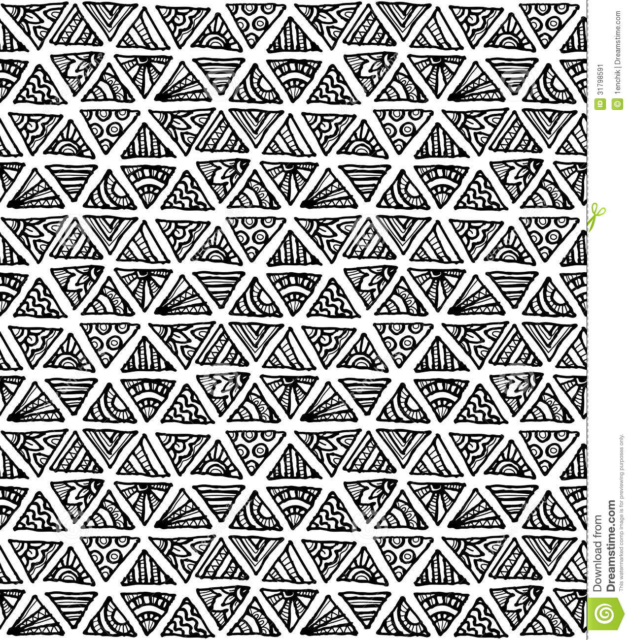 Ornate Hand Drawn Black And White Triangles Stock Vector