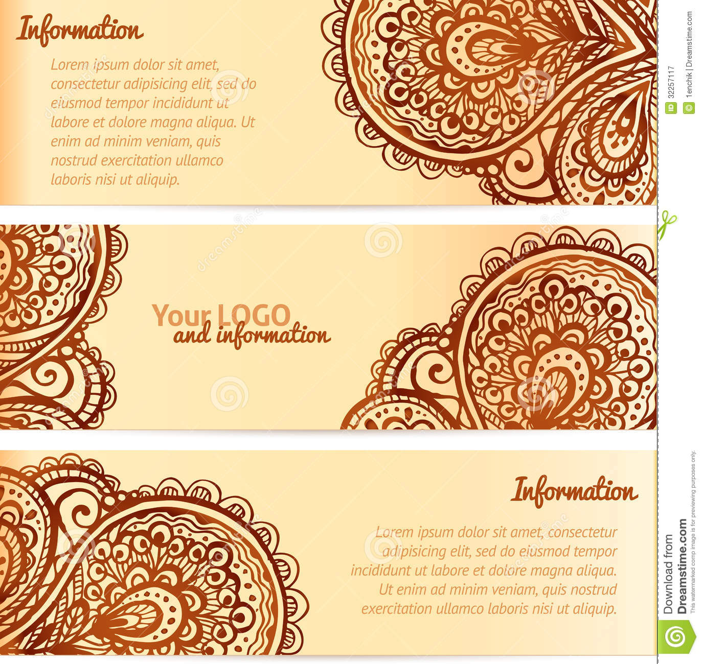Ornate Henna Ornament Vintage Vector Banners Stock Vector