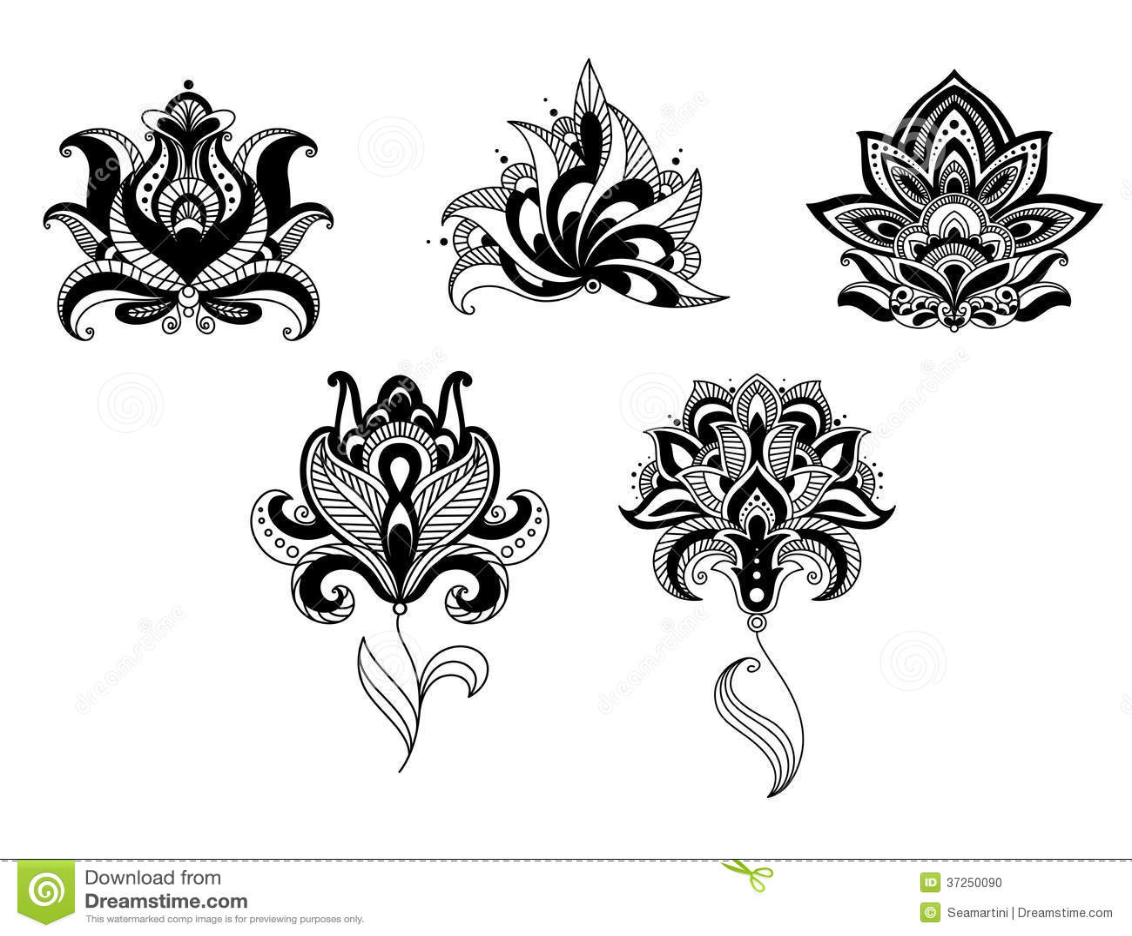 Indian lotus flower design comousar indian lotus flower design ornate indian persian floral mightylinksfo