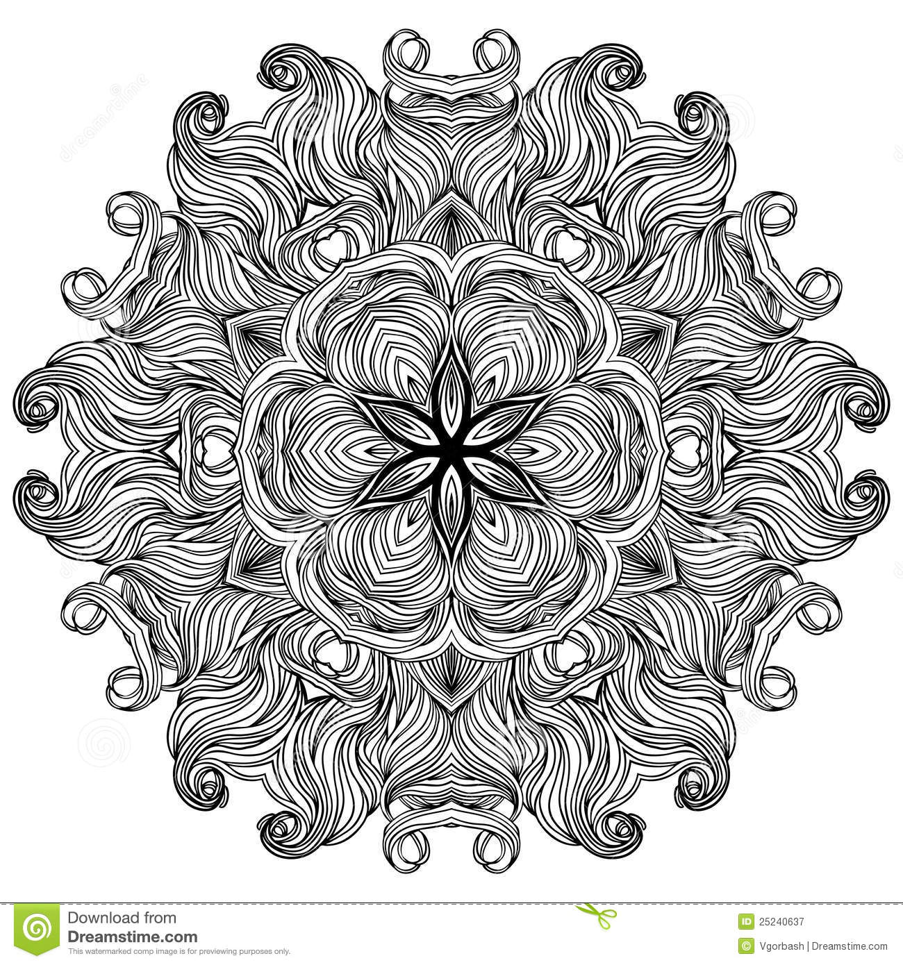 Kleurplaat Flower Ornate Lace Black And White Lines Pattern Stock Vector