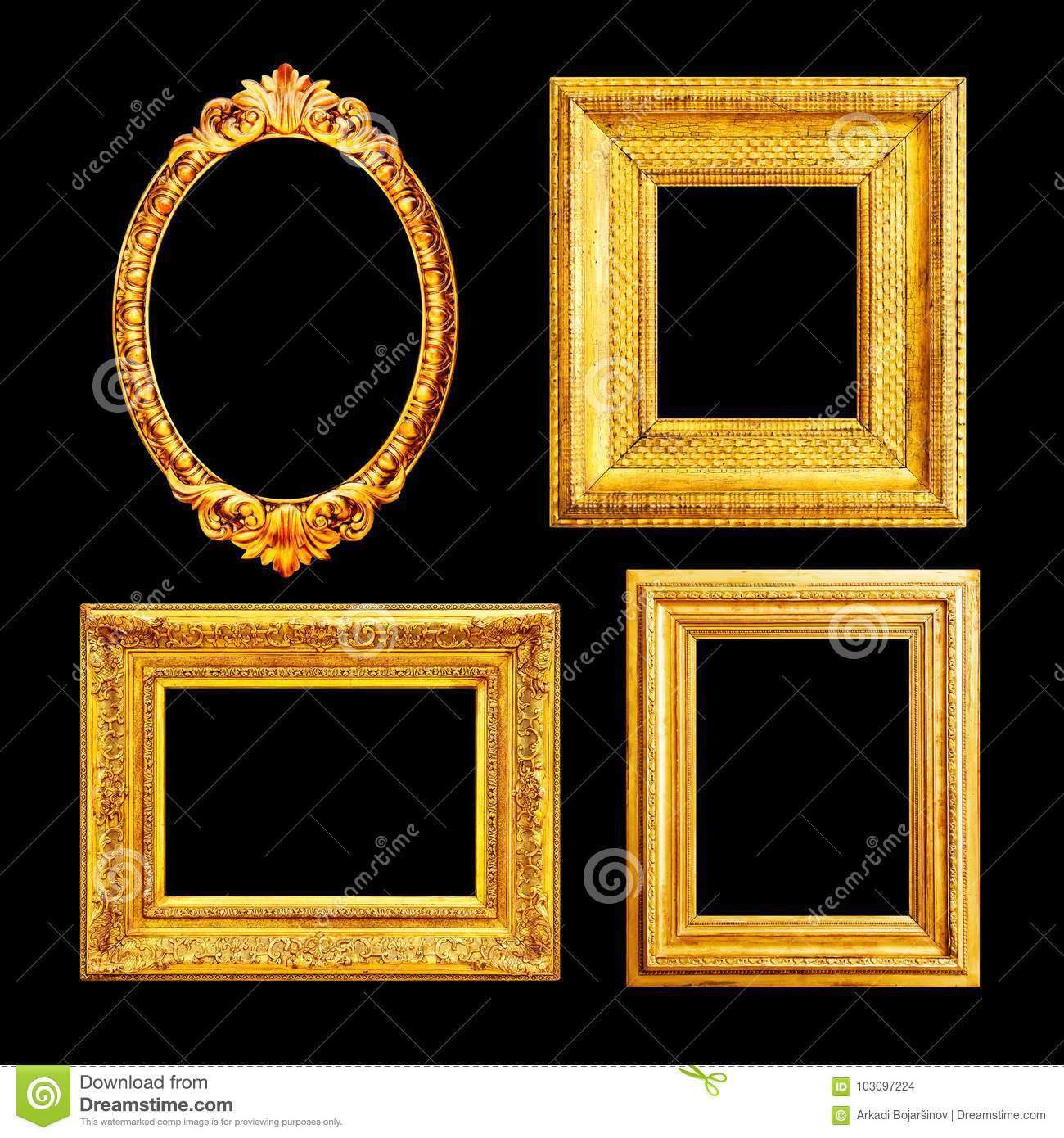 Ornate Luxury Gilded Frames Stock Photo - Image of ancient, baroque ...
