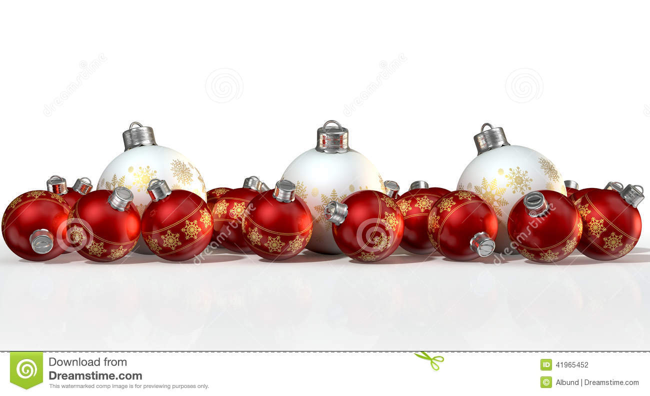 Ornate matte white and red christmas baubles stock photo for White christmas baubles