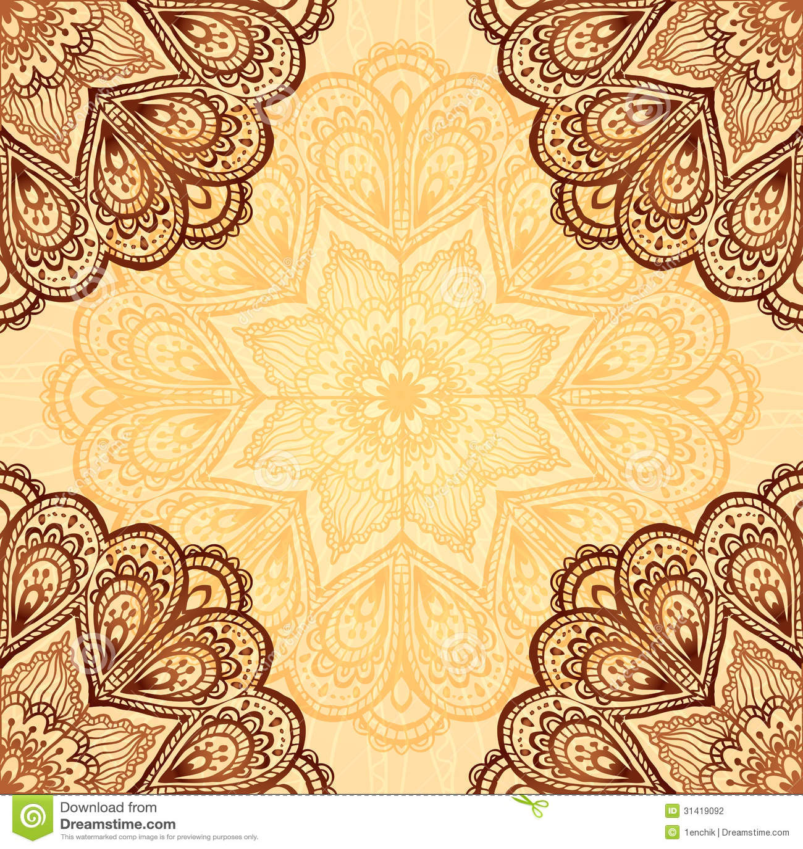 Ornate Napkin Vector Background In Henna Colors Stock Vector