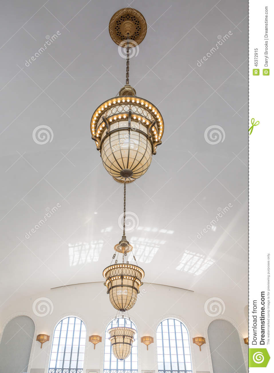 Ornate old lamps hanging from white ceiling stock photo for Old fashioned lighting fixtures
